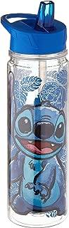 Silver Buffalo LI11118LG Sketchy Stitch Floral Glitter Double Walled Tritan Water Bottle, 18-oz