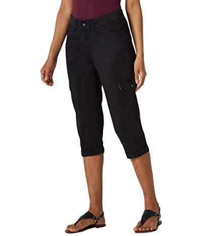 Lee Relaxed Fit Austyn Knit Waist Cargo Capris (Black) Women