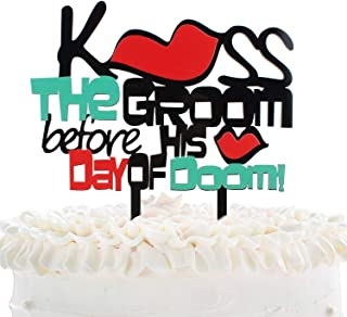 Acrylic Wedding Cake Topper - Kiss The Groom Before His Day Of Doom Blazing Red Lips Cake Décor - Funny Stag Bachelor Party - Wedding Engagement Party Decoration