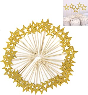 50 Pcs Gold Star Cupcake Toppers,Star Cupcake Toppers Twinkle Little Star Decorations Birthday Cupcake Toppers Glitter Star Cake Decorations for Party Birthday Wedding Ceremony (Gold)