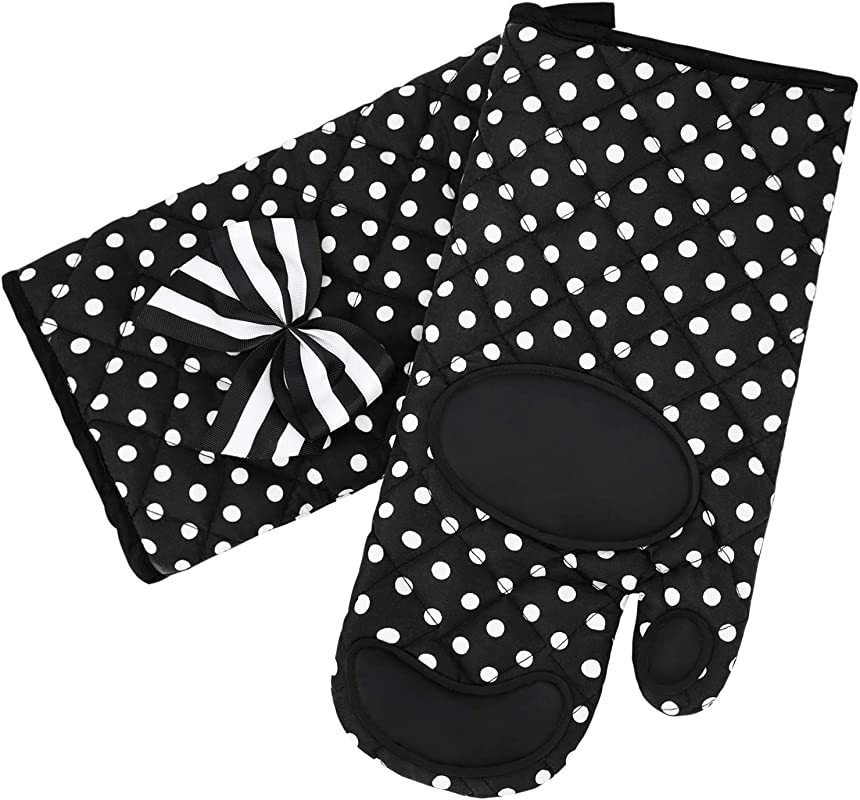 Nacuwa Oven Mitts Gloves Extra Long Heat Resistant Up To 482 F Oven Gloves For Cooking Baking Barbecue Potholder 1 Pair