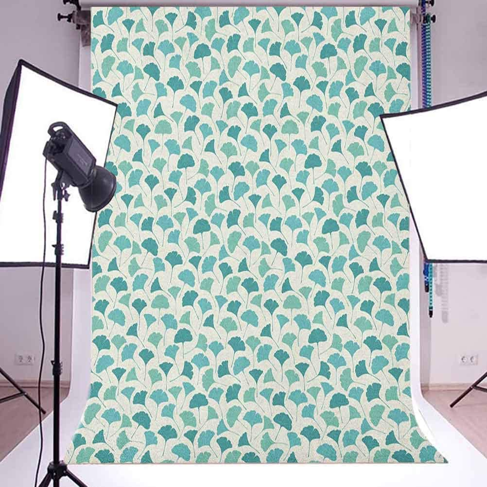 8x12 FT Green Vinyl Photography Backdrop,Retro Spring Freshness Themed Abstract Leaf Design Vertical Wavy Twigs Background for Party Home Decor Outdoorsy Theme Shoot Props