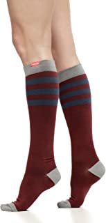 VIM & VIGR Women's 15-20 mmHg Compression Socks: Rugby Stripe - Burgundy & Navy (Cotton) (Large)