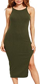 Women's Sexy Solid Sleeveless Side Slit Bodycon Dress