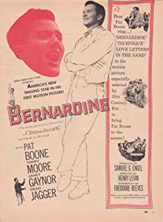 Bernardine Movie Ad 1957 - Pat Boone & Terry Moore & Janet Gaynor & Dean Jagger - Original Magazine Advertisement Page - Full-page Clipping