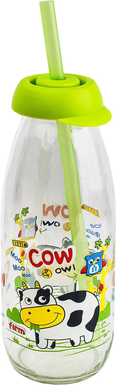 mit Strohhalm /& Deckel Glasflasche lustige Tiere Trinkglas BPA frei Trinkbecher // Trinkhalmbecher Trinklernbecher inkl Name T.. 500 ml alles-meine.de GmbH Glas