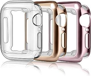 Vancle コンパチブル Apple Watch ケース 柔らかい TPU アップルウォッチ カバー 超薄型 全面保護ケース 防水 防塵 耐衝撃 (Series3/2/1 38mm, クリア+ローズゴールド+ローズピンク)