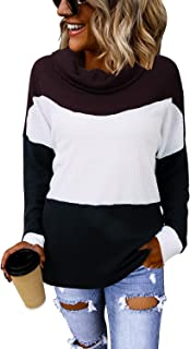 LANISEN Womens Cowl Neck Knit Sweater Casual Long Sleeve Waffle Knit Color Block Loose Knitted Pullover Jumper Tunic Tops