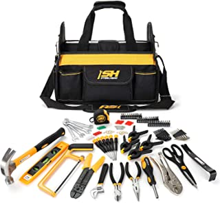 """STEELHEAD 117-Piece Tool Set, Screwdriver Handle, 33 Bits, Screwdrivers, Pliers, Tape Measure, 9"""" Level, Hammer, Prybar, Wrenches, Scissors, Saw, Clamps, 14"""" Tool Tote, Home, Office, USA-Based Support"""