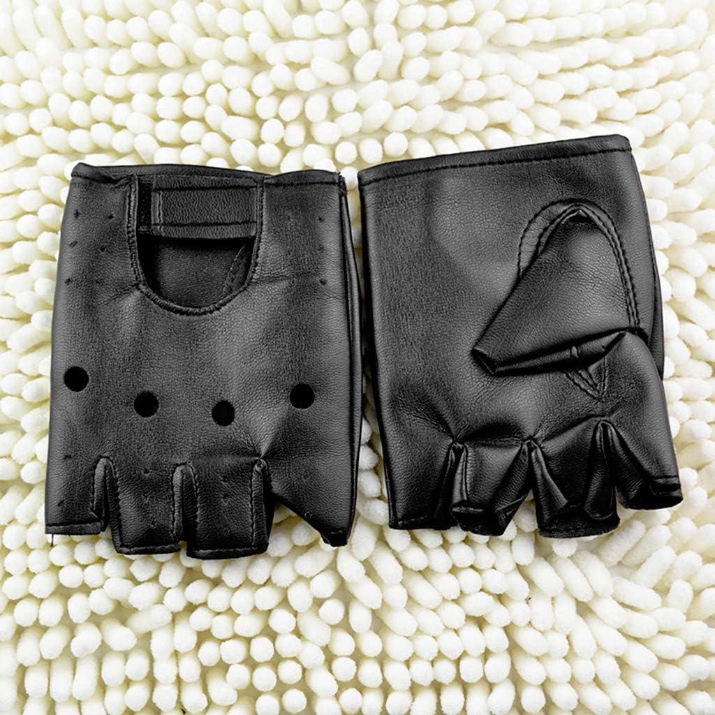 unknows Men's Leather Gloves, Faux Leather Slip-Resistant Half Finger Fingerless Gloves Hand Wrist Mittens Winter Gloves for Men Women Ladies Winter Gloves Kids Girls Medium Small Thermal Waterproof