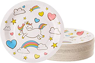 Unicorn Plates - 80-Pack Disposable 9-Inch Round Plates for Cake, Appetizer, Lunch, Dessert, Unicorn Themed Birthday, Baby Shower Party Supplies, Rainbow Unicorn Design