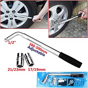 Pcs Telescopic Lug Wrench Extendable Wheel Brace with 17mm 19mm 21mm 23mm Standard Sockets for Car Van Truck Spare Tyre Breakdown Emergency Tools for Tyre Change  Roadside Emergency  Garage Tools