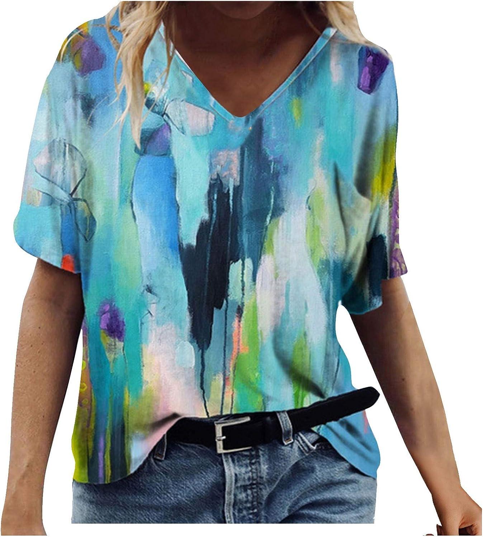 Women's Tops Womens Casual Summer V-Neck T-Shirt Gradient Printed Blouse Short Sleeve Shirt Tunic Top