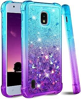 DagoRoo Nokia 3.1A Glitter Case, Nokia 3.1C Bling Liquid Case, Flexible TPU Protective Cover for Girls Women (5.45 inch) 2019 (Teal/Purple)