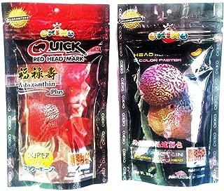 Set Of 2 Quick Red Mark , Platinum Head Huncher Cichlid Flowerhorn Fish Food 3.5 oz (100g)