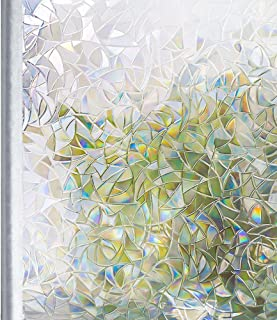 Homein Privacy Window Film, 3D Crystal Decorative Stained Glass Window Film Rainbow Effect Removable Self Adhesive Glass Sticker Static Cling Window Paper for Kitchen, 17.5x78.7 inches