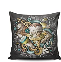 AIHUAW Home Decorative Cushion Covers Throw Pillow Case Ice Cream Art Cartoon Colorful Square 18x18 Inches Double Sided Printed (Set of 1)