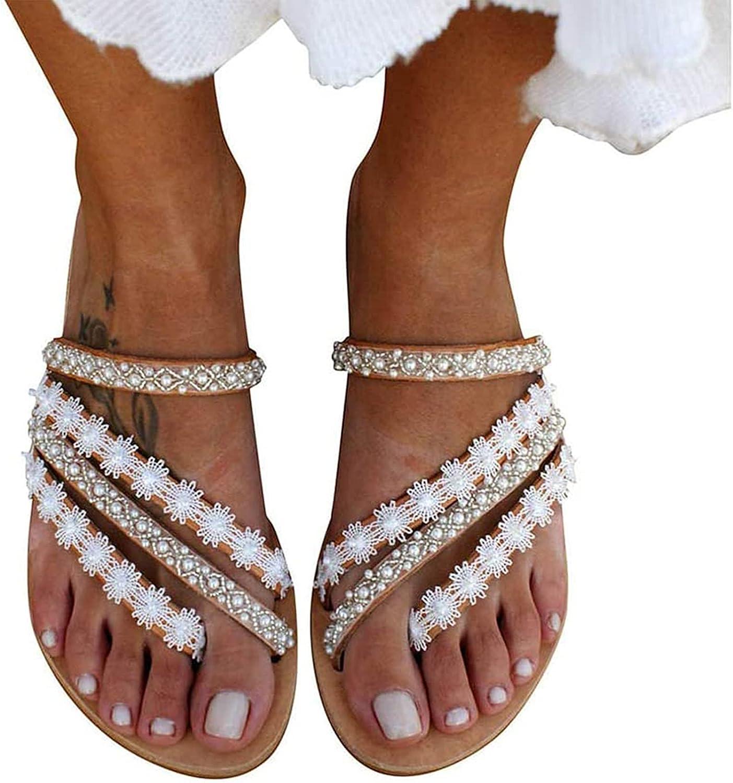 IQOAIJ Women Summer Sandals Flowers Strap Comfort O Flat Fees free!! Manufacturer regenerated product