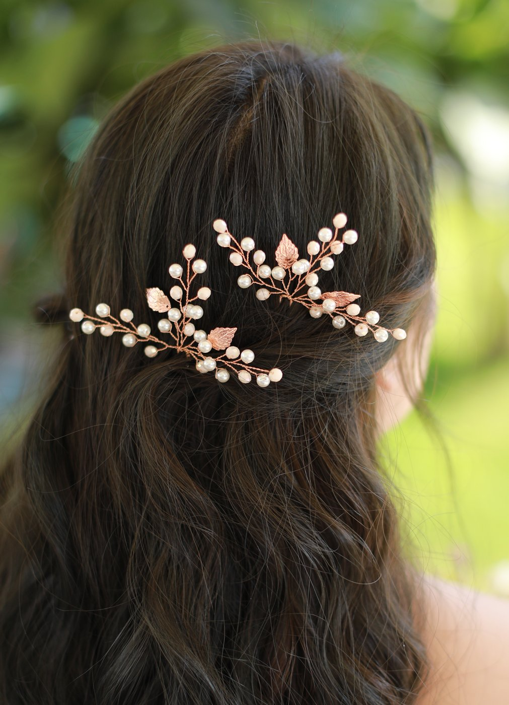 Missgrace Bridal Rose Gold safety Hair Cr Max 74% OFF Pins Women Pieces