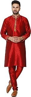 Seda Lujoso Kurta Pijama (Camisa Larga y Pantalón) para Hombre