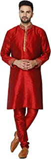 Men's Tunic Art Silk Kurta Pajama Set Party Dress