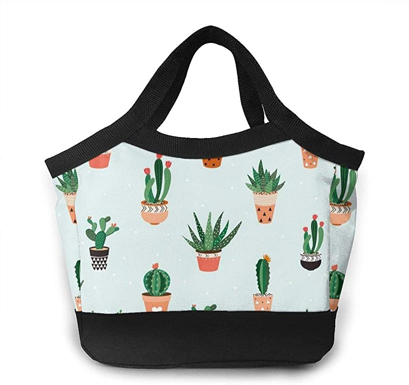 Succulents Cactus Lunch Tote Insulated Reusable Picnic Lunch Bags Boxes For Men Women Adults Kids Toddler Nurses