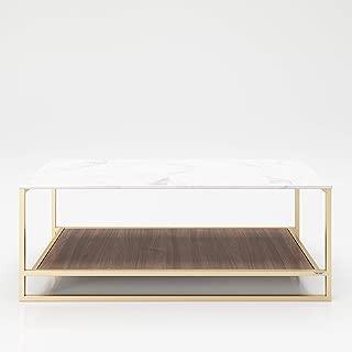 PLAYBOY 215802NBW - Mesa de almacenaje con 2 estantes, nogal, dorado, mármol, 120 x 45 x 60 cm