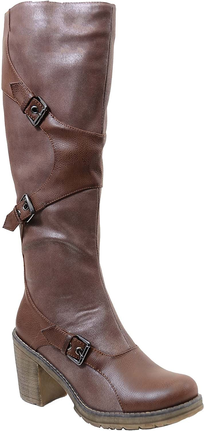 Fourever Funky Brown Strappy Buckle Riding Women's Vegan Knee Lug Sole Boots