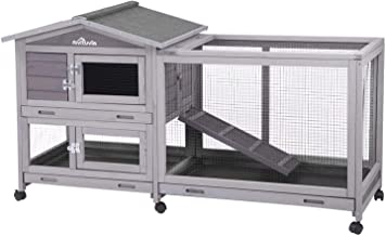 """Aivituvin Rabbit Hutch Indoor and Outdoor 62"""" Bunny Cage on Wheels with 3 Deep No Leakage Pull Out Tray,Waterproof Roof (G..."""