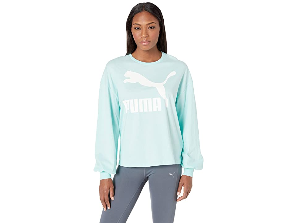 PUMA Classics Logo Long Sleeve Top (Fair Aqua) Women