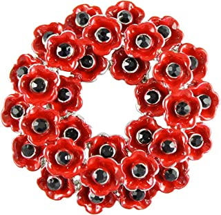 Angelys Memorial Remembrance Day Large Poppy Wreath Brooch P1004