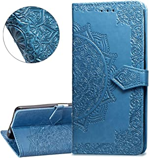 HMTECHUS Huawei Nova 3i case Solid Embossing Card Slots PU Leather Wallet Book Style Magnetic Flip Stand Shockproof Protection Slim Cover for Huawei P Smart Plus/Nova 3i -Mandala Blue SD