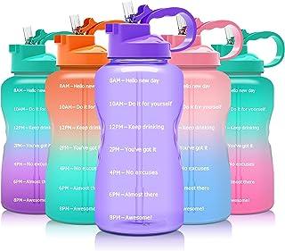 Podocarpus Large 64oz/128oz Motivational Water Bottle with Time Marker & Straw,Half Gallon/1 Gallon Water Bottle Leakproof...