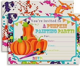Pumpkin Painting Halloween Birthday Party Invitations, 20 5
