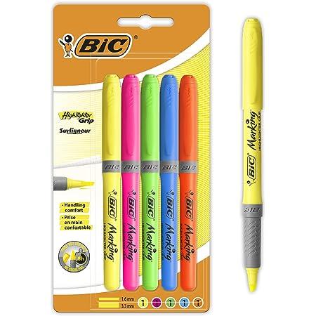 BIC Highlighter Grip Surligneurs Couleurs Fluo Assorties - 4 Standards et 1 Décoré - Tracé Confortable - Blister Format Spécial de 5