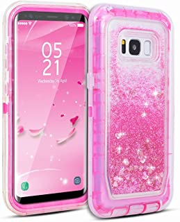 Galaxy S8 Case, Dexnor Glitter 3D Bling Sparkle Flowing Quicksand Liquid Bumper Clear 3 in 1 Shockproof TPU Silicone + PC Heavy Duty Protective Defender Cover for Samsung Galaxy S8 - Pink