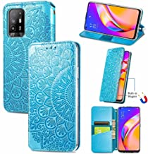Sccdjyxl Cover Case Compatible with Oppo A94 5G F19 Pro, Embossing Flower PU Leather Wallet Case [Card Holder Slot] [Soft ...