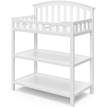 Graco Changing Table with Water-Resistant Change Pad and Safety Strap, White, Multi Storage Nursery Changing Table for Infants or Babies