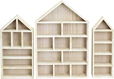 Ikee Design House-Shaped Wooden Shadow Cubby Box Display Shelf Toy Organizer Storage Shadow Box for Mini Toys Figures, Set of