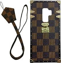 jiehao Samsung Galaxy S9 Plus S9+ Case, Vintage Elegant Luxury Designer Lattice PU Leather Back with Lanyard Soft Bumper Shock Absorption Trunk Case for Galaxy S9 Plus 6.2