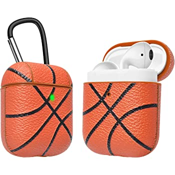 AirPods Case, Takfox Airpod Case Cover Protective Shockproof Scratch Resistance Premium Leather Headphone Case with Carabiner/Keychain Skin for Apple Airpods 2 & AirPods 1 Charging Case-Basketball