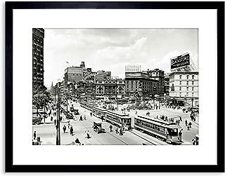 The Art Stop Vintage Photo Cityscape Woodward Avenue 1917 Detroit Framed Print F97X5388