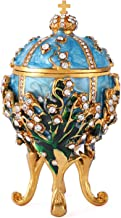 QIFU Faberge Egg Series Hand Painted Jewelry Trinket Box with Rich Enamel and Sparkling Rhinestones Unique Gift Home Decor Easter Day Collectible