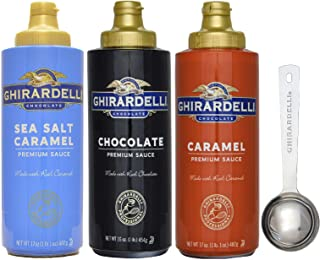 Ghirardelli - Sea Salt Caramel, Chocolate and Caramel Flavored Sauce (Set of 3) - with Limited Edition Measuring Spoon