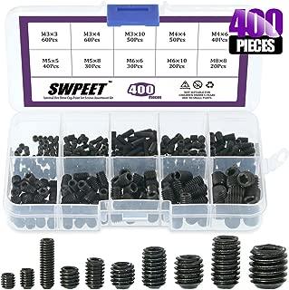 Swpeet 400 Pcs Allen Head Socket Hex Grub Screw Assortment Kit, Including 10 Sizes M3/4/5/6/8 Internal Hex Drive Cup-Point Set Screws for Door Handles, Faucet, Light Fixtur