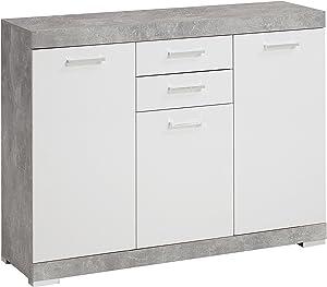 Fores Diseño s.l. Sorrento H05 Buffet, 129,9X16,5X41,2 H cm, Grigio, Bianco, Nobilitato