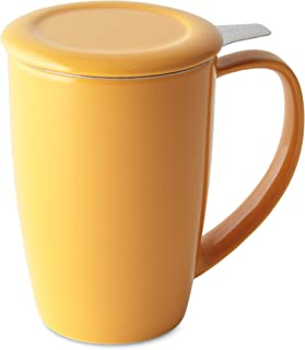 FORLIFE Curve Tall Tea Mug with Infuser and Lid 15 ounces, Mandarin
