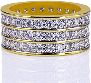 Moca Gioielli Iced out Three Rows Bling Bling C' Ring 18K Oro Placcato Bling C' Simulato Diamond Hip Hop Ring per Gli Uomini