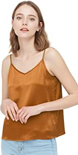 Silk Camisole for Women and Girls Basic Tank Top Cami Classic V Neck Front and Back Cool for Summer