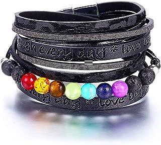 EGOO&YAMEE Multi-Layered Leather Wrap Bracelet - Handmade Boho Wrap Charm Bracelet Cuff Bangle Wrap Around Bracelet with Magnetic Buckle Fashion Gift for Women, Girls